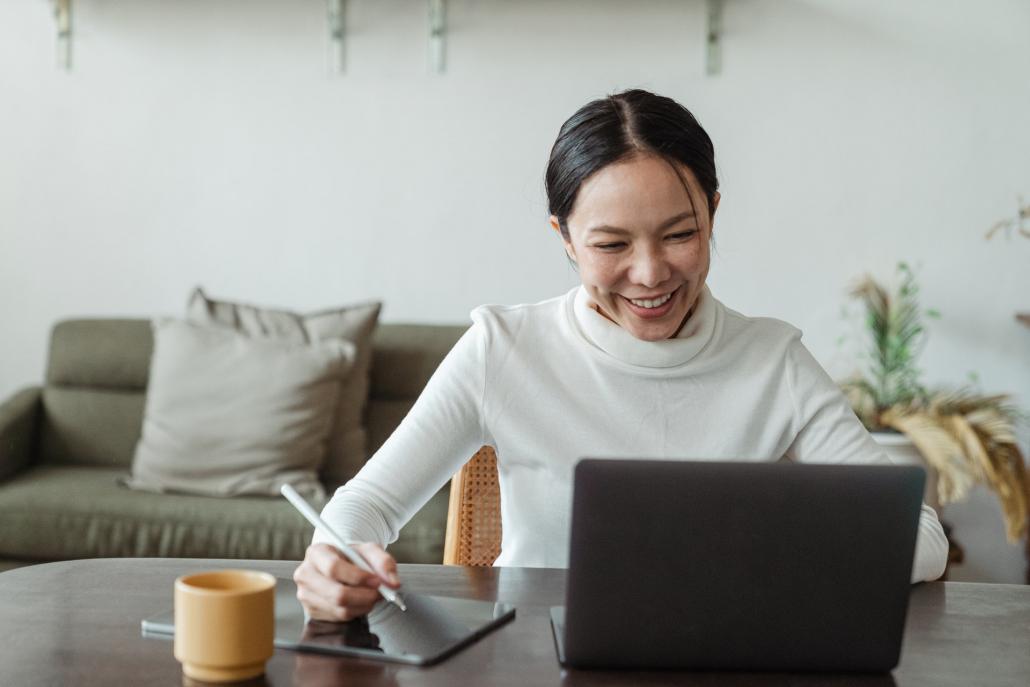 Female translator at work